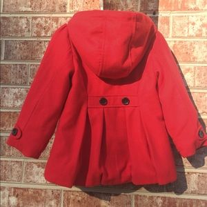 Old Navy Jackets & Coats - Girls, 4T double breasted Red Pea Coat, with hood.